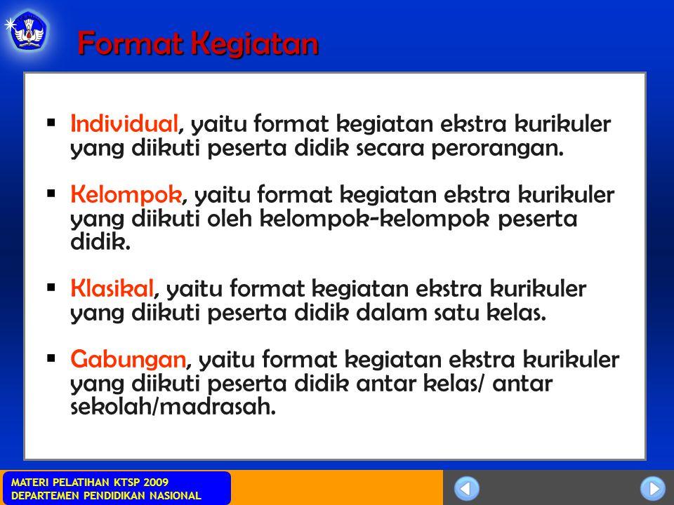 Format Kegiatan Individual, yaitu format kegiatan ekstra kurikuler yang diikuti peserta didik secara perorangan.