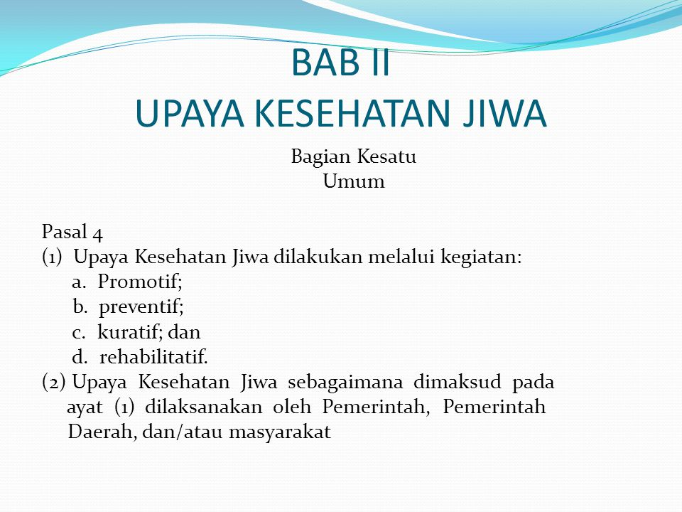 BAB II UPAYA KESEHATAN JIWA