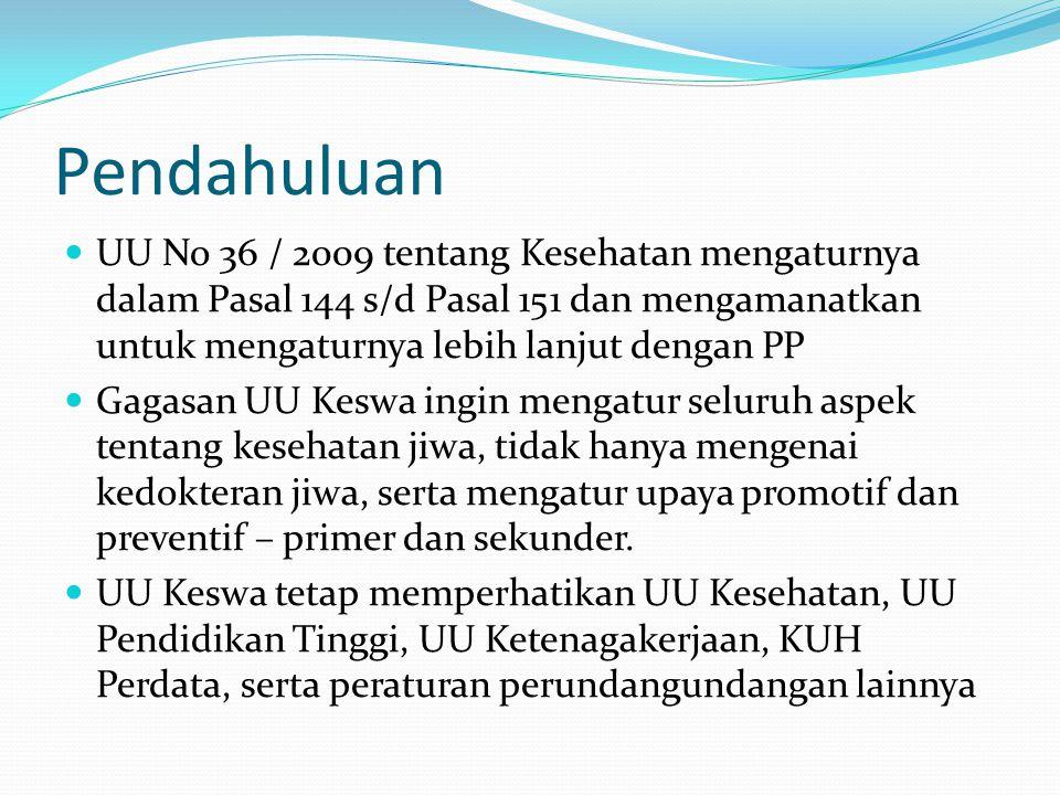 Pendahuluan UU No 36 / 2009 tentang Kesehatan mengaturnya dalam Pasal 144 s/d Pasal 151 dan mengamanatkan untuk mengaturnya lebih lanjut dengan PP.