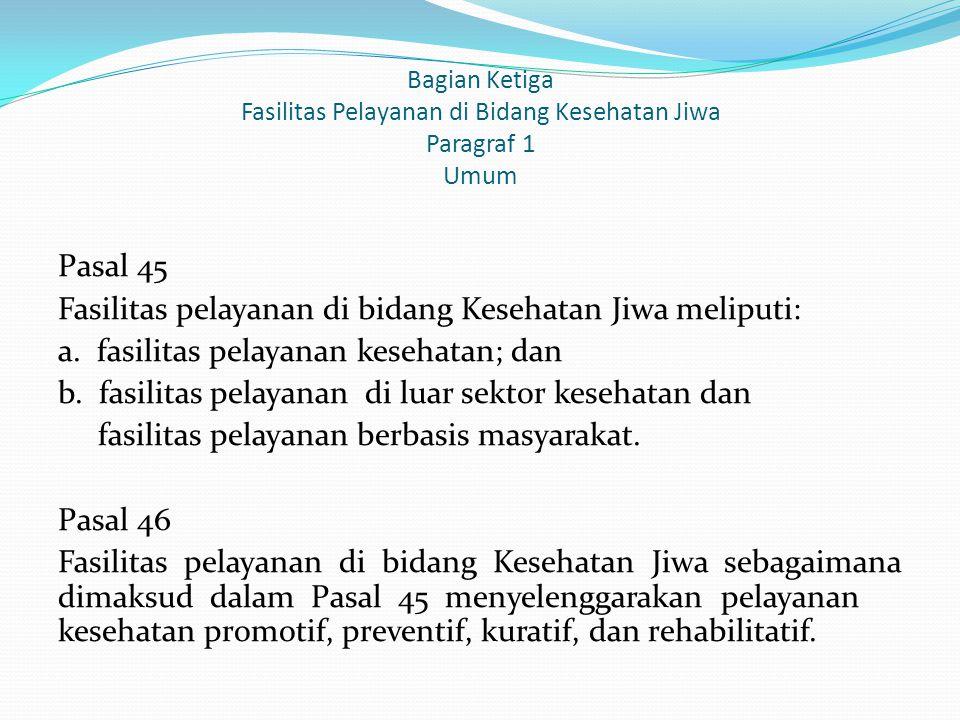 Bagian Ketiga Fasilitas Pelayanan di Bidang Kesehatan Jiwa Paragraf 1 Umum