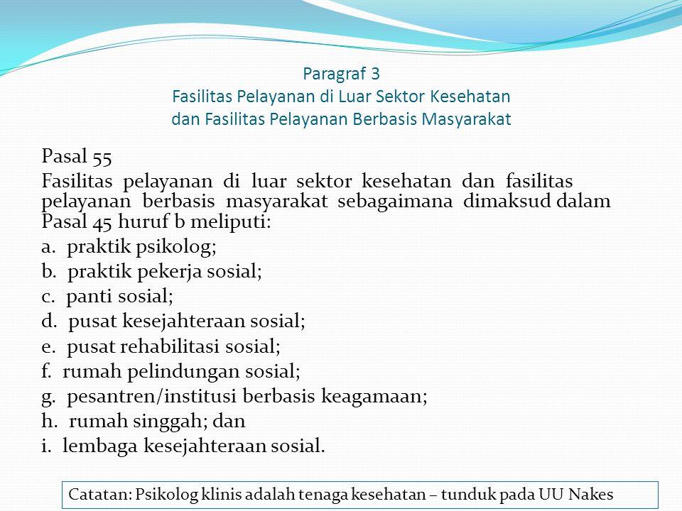 Paragraf 3 Fasilitas Pelayanan di Luar Sektor Kesehatan dan Fasilitas Pelayanan Berbasis Masyarakat
