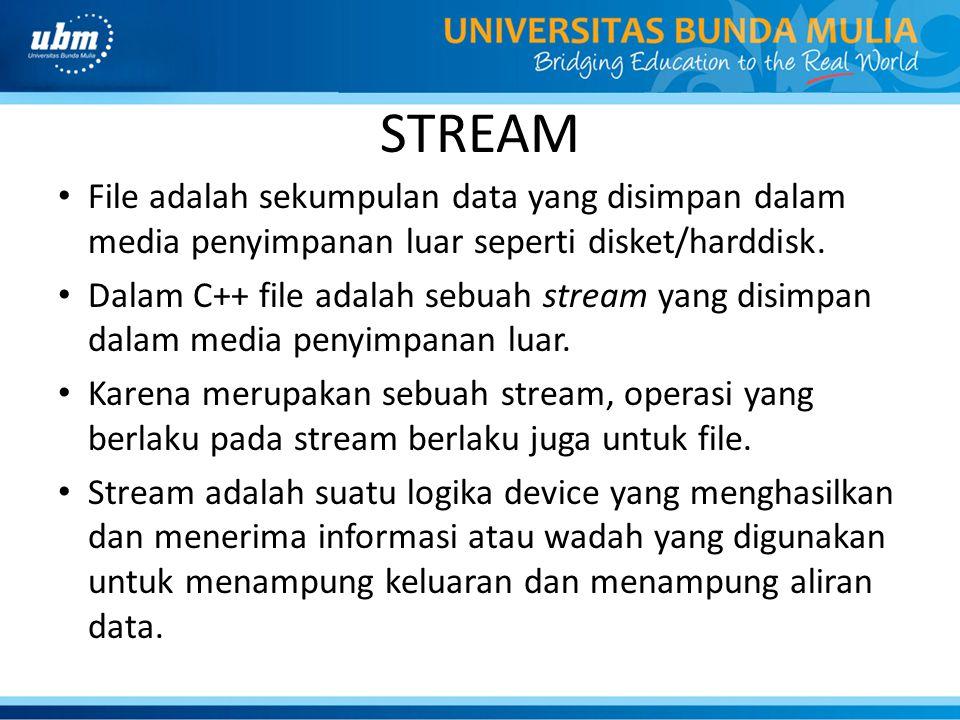 STREAM File adalah sekumpulan data yang disimpan dalam media penyimpanan luar seperti disket/harddisk.