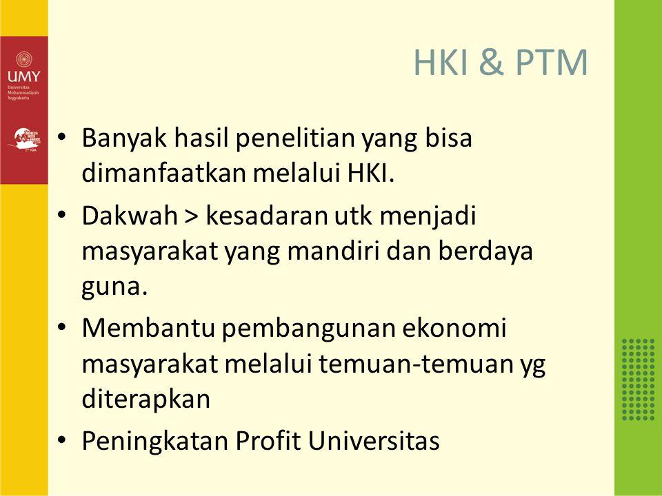 HKI & PTM Banyak hasil penelitian yang bisa dimanfaatkan melalui HKI.