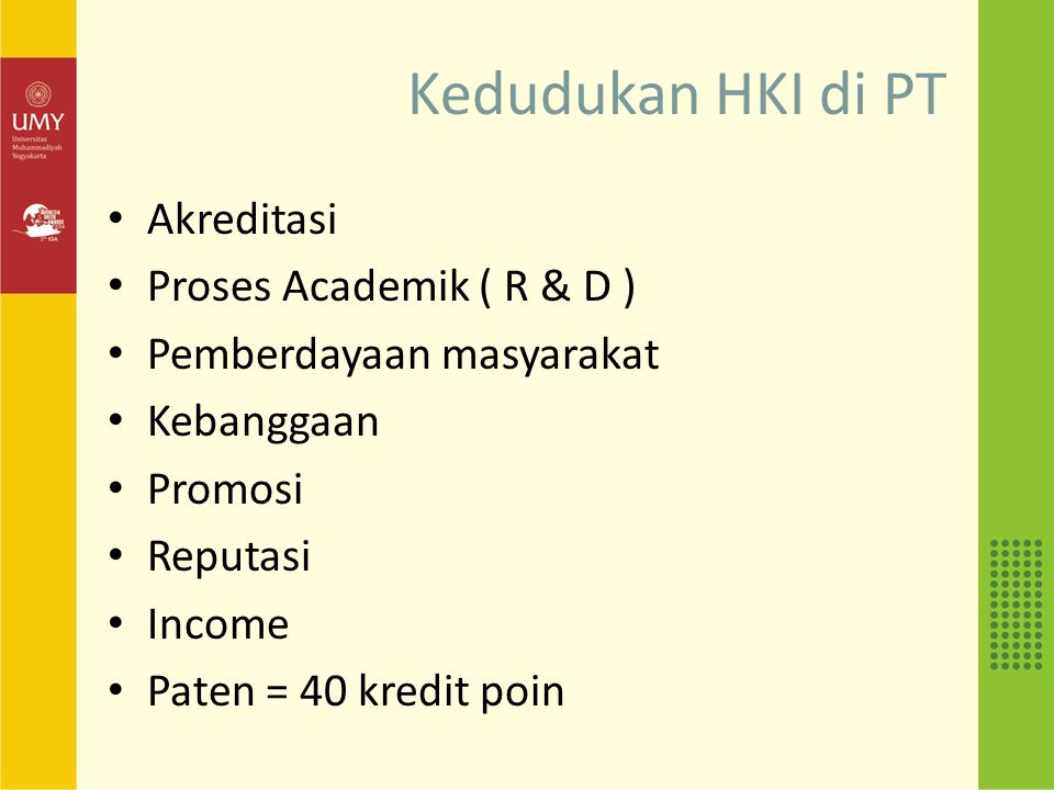 Kedudukan HKI di PT Akreditasi Proses Academik ( R & D )