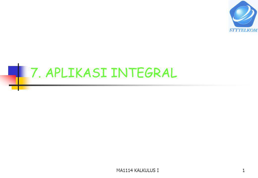 7. APLIKASI INTEGRAL MA1114 KALKULUS I