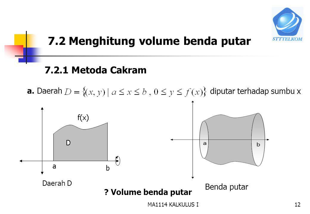 7.2 Menghitung volume benda putar