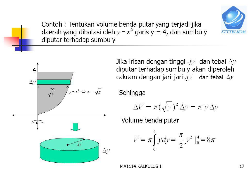 Contoh : Tentukan volume benda putar yang terjadi jika