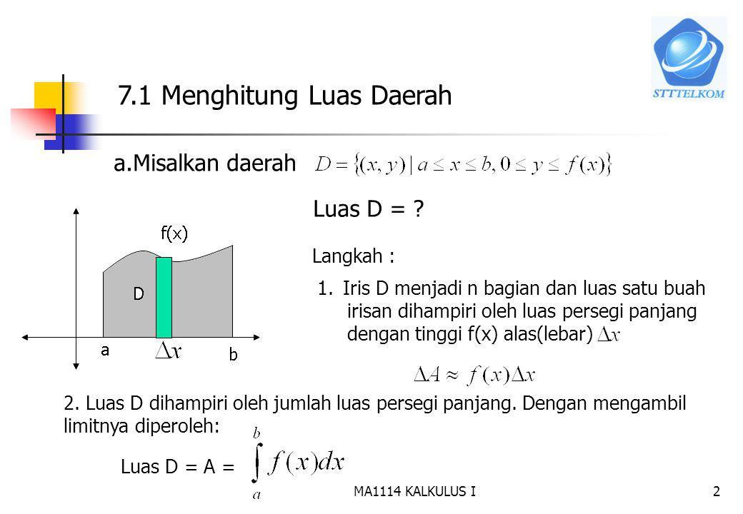 7.1 Menghitung Luas Daerah