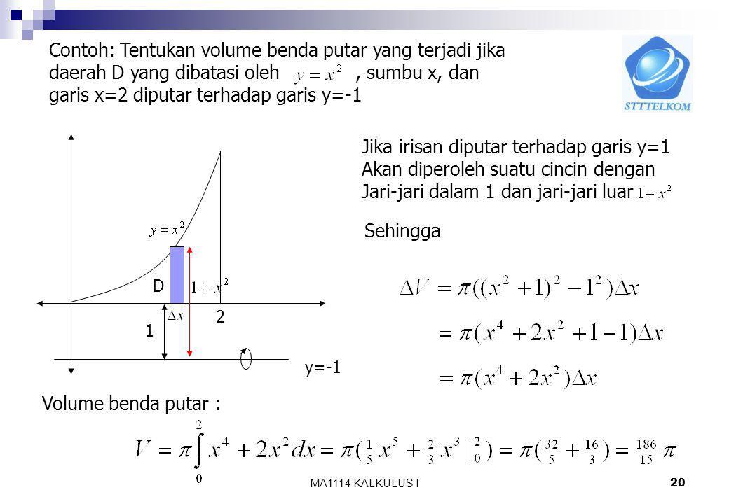 Contoh: Tentukan volume benda putar yang terjadi jika
