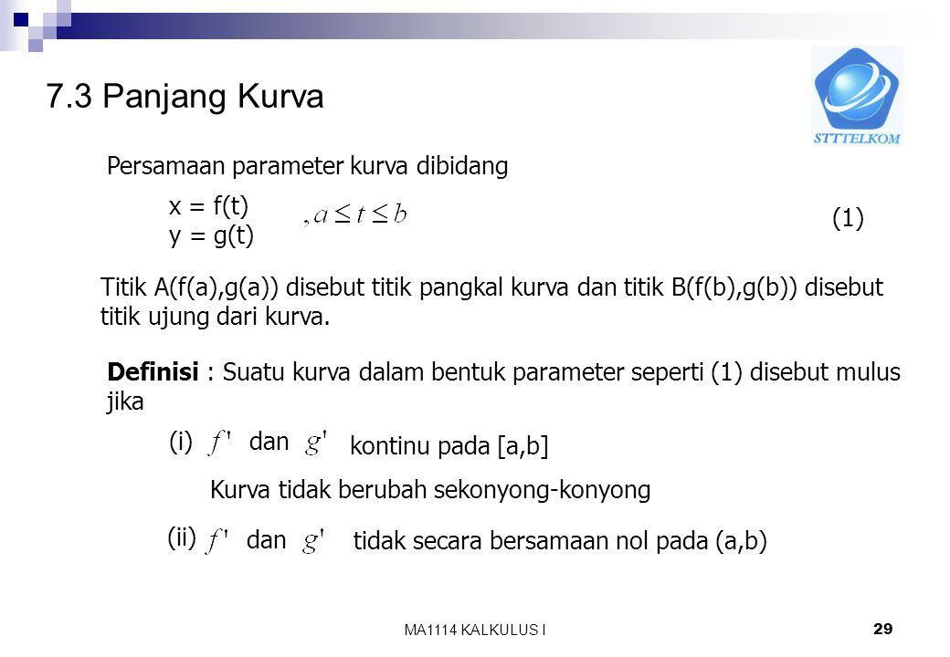 7.3 Panjang Kurva Persamaan parameter kurva dibidang x = f(t) y = g(t)