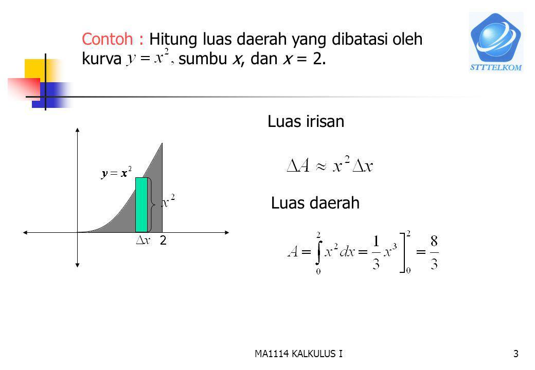 Contoh : Hitung luas daerah yang dibatasi oleh kurva sumbu x, dan x = 2.