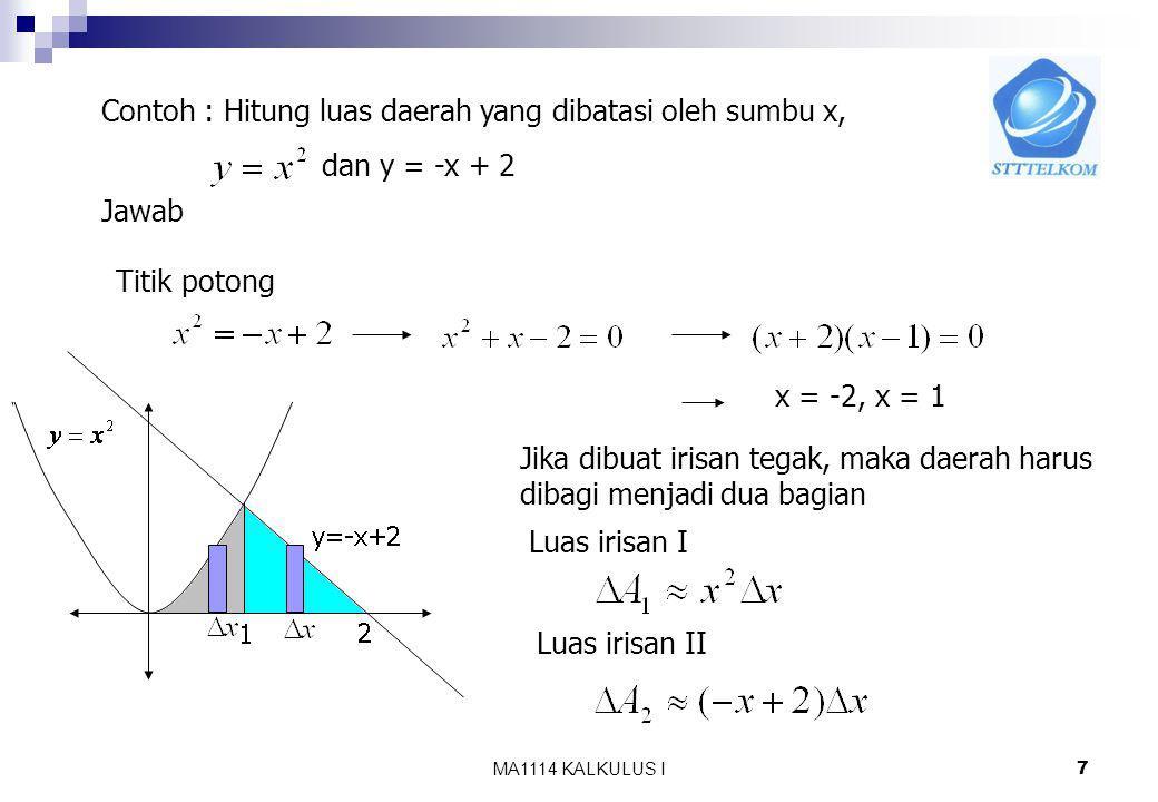 Contoh : Hitung luas daerah yang dibatasi oleh sumbu x,