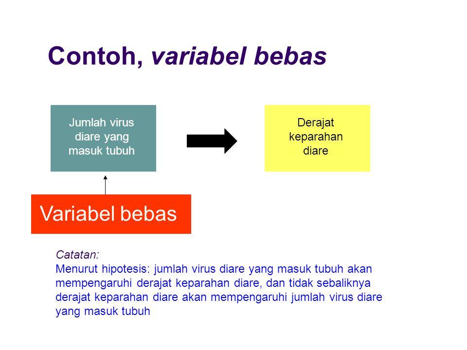 Contoh, variabel bebas Variabel bebas Jumlah virus diare yang