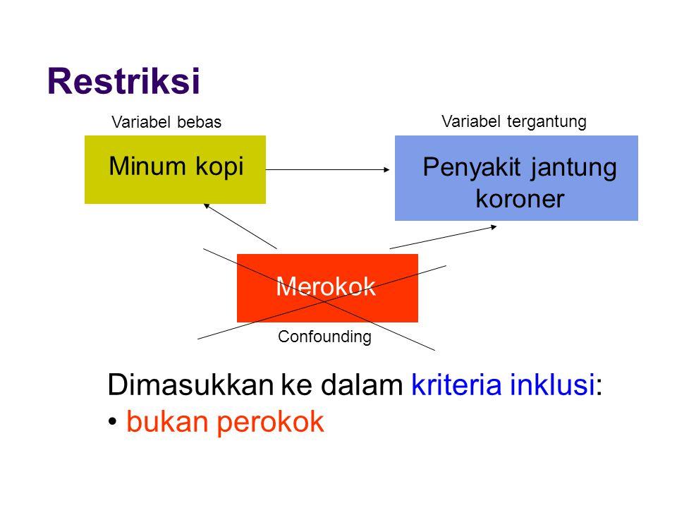Restriksi Dimasukkan ke dalam kriteria inklusi: bukan perokok