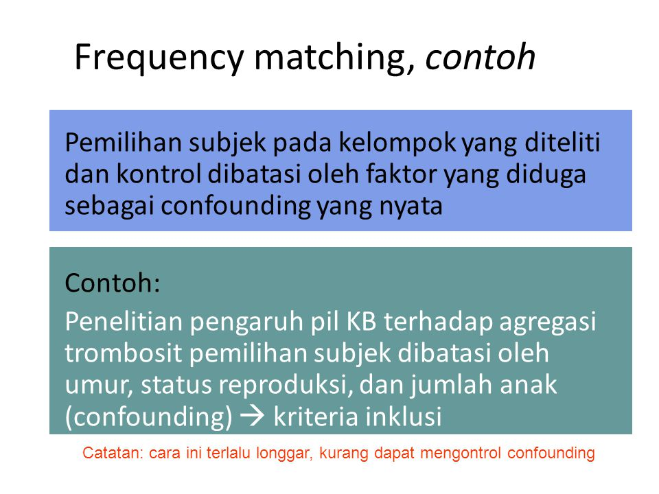 Frequency matching, contoh