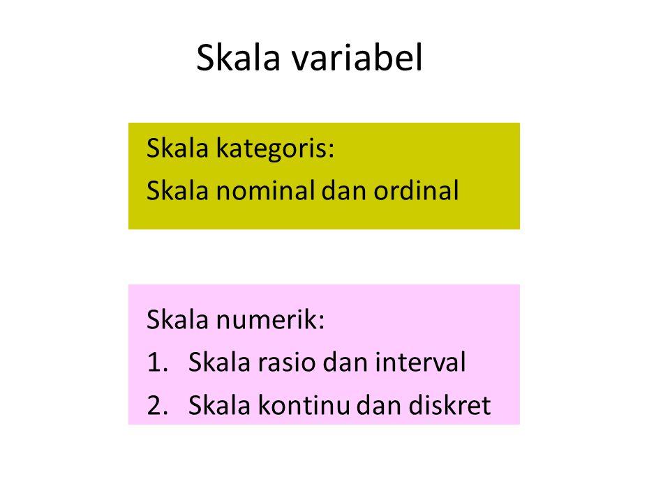 Skala variabel Skala kategoris: Skala nominal dan ordinal