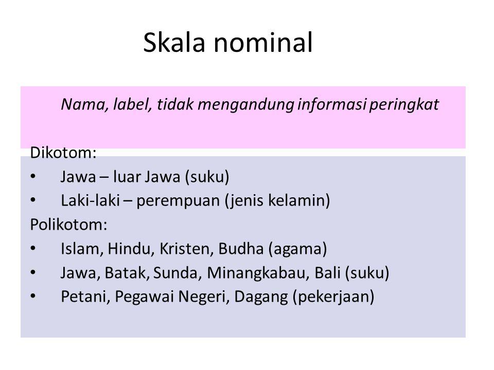 Skala nominal Nama, label, tidak mengandung informasi peringkat