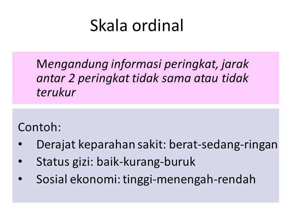 Skala ordinal Mengandung informasi peringkat, jarak antar 2 peringkat tidak sama atau tidak terukur.