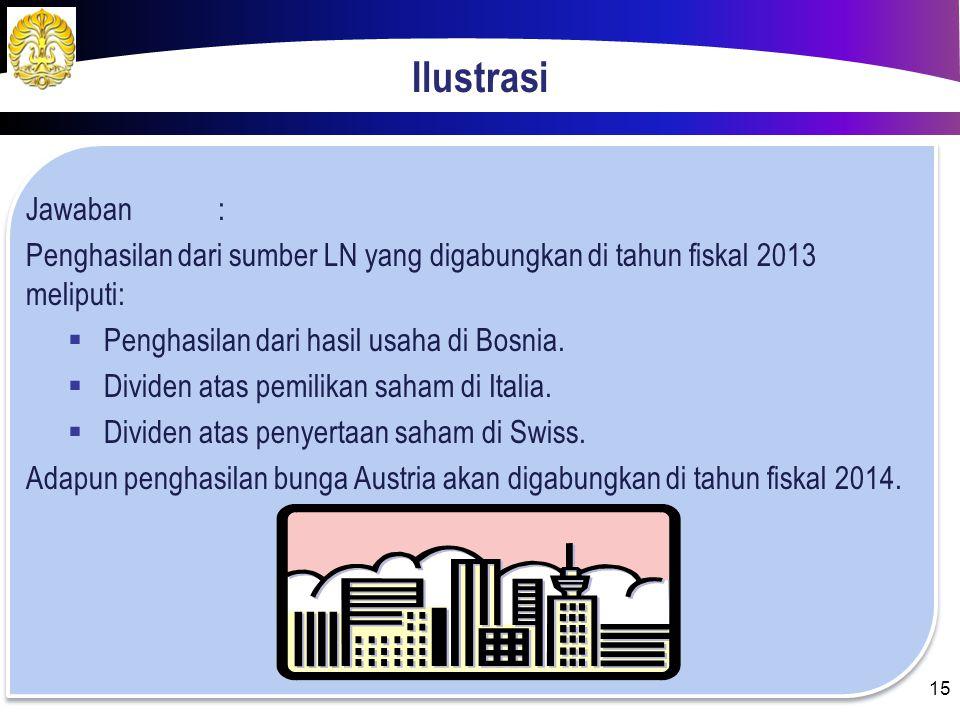 Ilustrasi Jawaban : Penghasilan dari sumber LN yang digabungkan di tahun fiskal 2013 meliputi: Penghasilan dari hasil usaha di Bosnia.