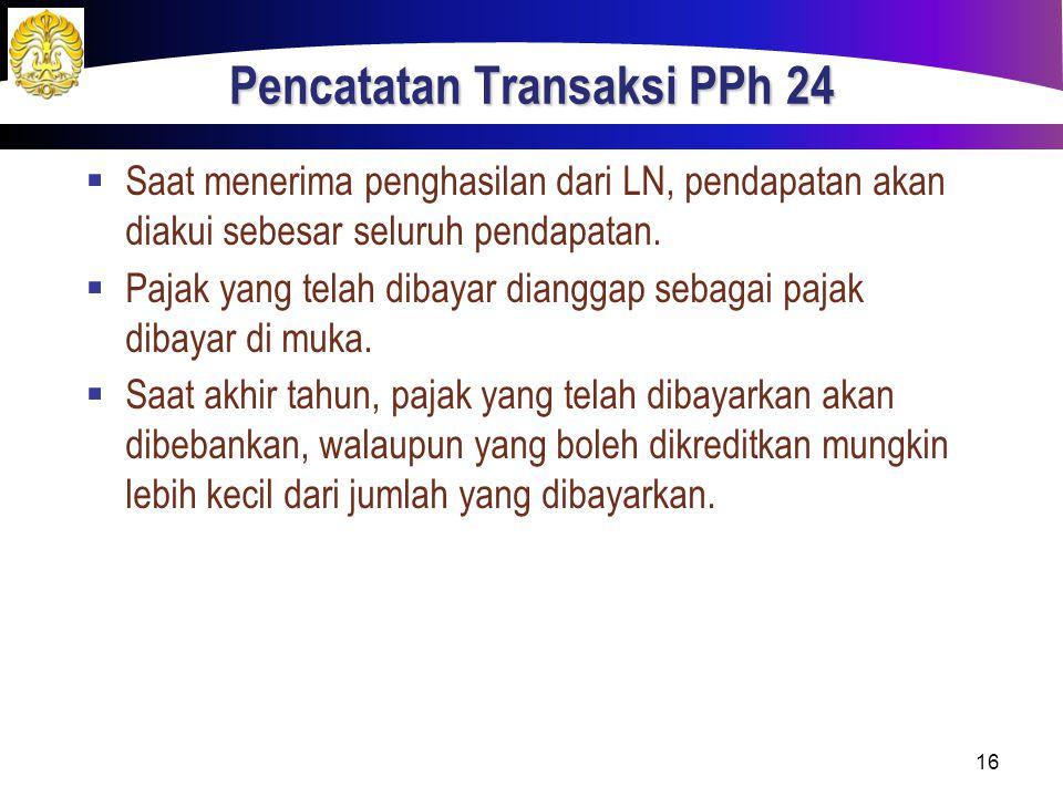 Pencatatan Transaksi PPh 24