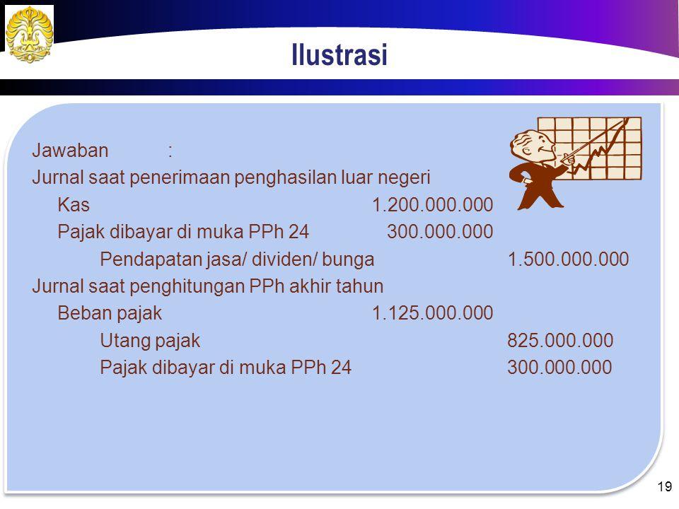 Ilustrasi Jawaban : Jurnal saat penerimaan penghasilan luar negeri