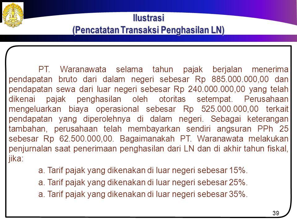Ilustrasi (Pencatatan Transaksi Penghasilan LN)