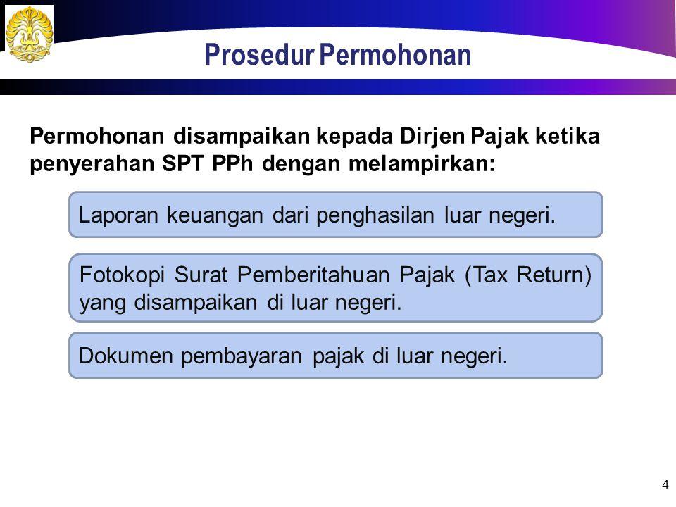 Prosedur Permohonan Permohonan disampaikan kepada Dirjen Pajak ketika penyerahan SPT PPh dengan melampirkan: