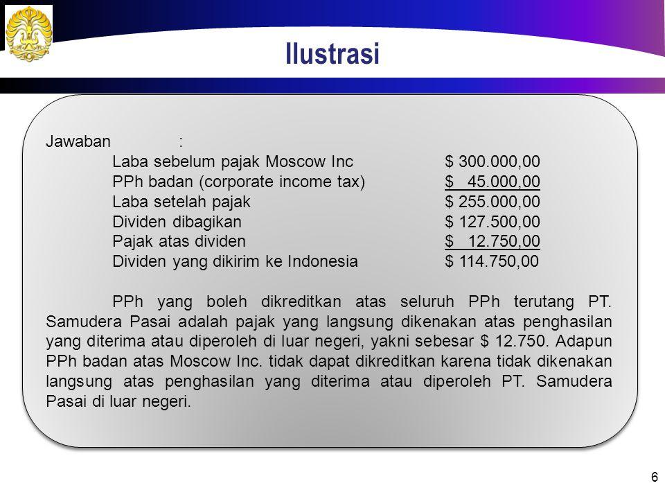 Ilustrasi Jawaban : Laba sebelum pajak Moscow Inc $ 300.000,00