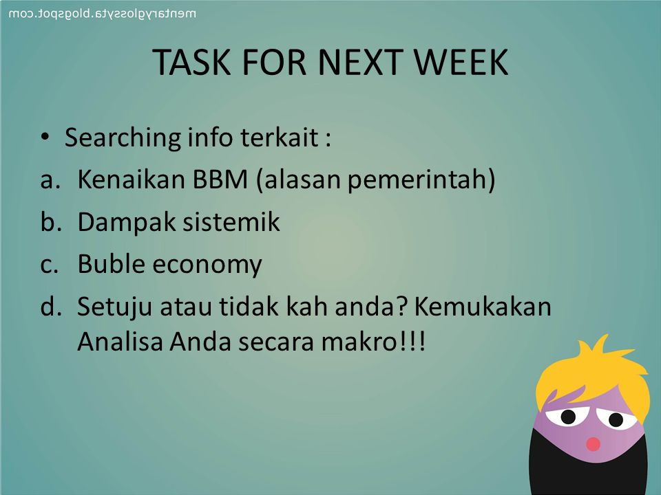 TASK FOR NEXT WEEK Searching info terkait :