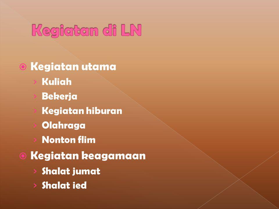 Kegiatan di LN Kegiatan utama Kegiatan keagamaan Kuliah Bekerja