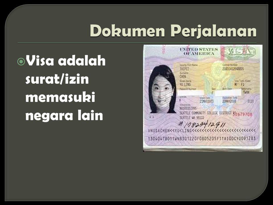 Dokumen Perjalanan Visa adalah surat/izin memasuki negara lain