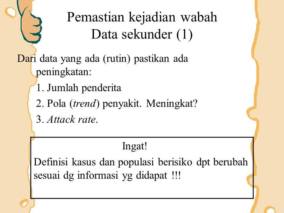 Pemastian kejadian wabah Data sekunder (1)