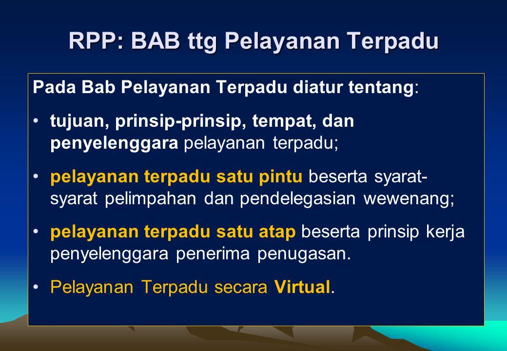 RPP: BAB ttg Pelayanan Terpadu