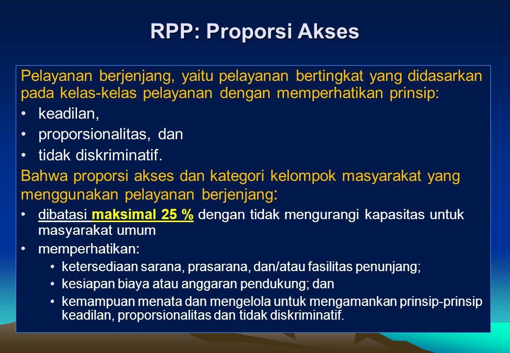 RPP: Proporsi Akses Pelayanan berjenjang, yaitu pelayanan bertingkat yang didasarkan pada kelas-kelas pelayanan dengan memperhatikan prinsip: