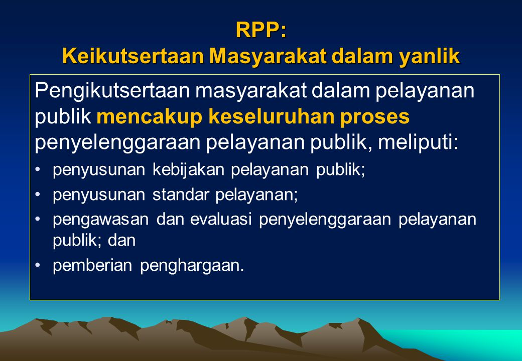 RPP: Keikutsertaan Masyarakat dalam yanlik