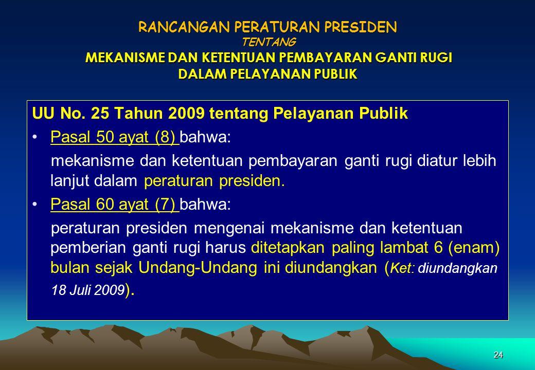 UU No. 25 Tahun 2009 tentang Pelayanan Publik Pasal 50 ayat (8) bahwa: