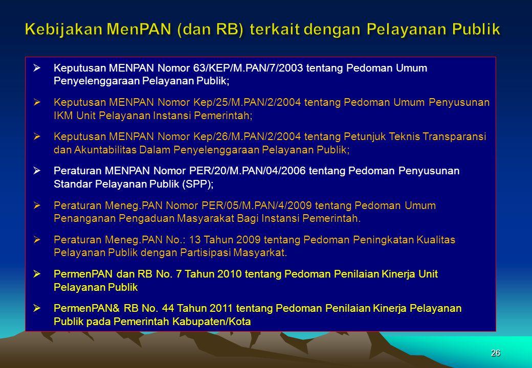 Kebijakan MenPAN (dan RB) terkait dengan Pelayanan Publik