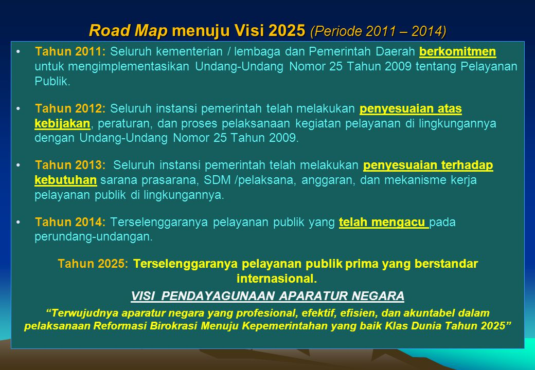 Road Map menuju Visi 2025 (Periode 2011 – 2014)