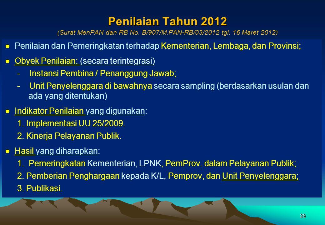 Penilaian Tahun 2012 (Surat MenPAN dan RB No. B/907/M