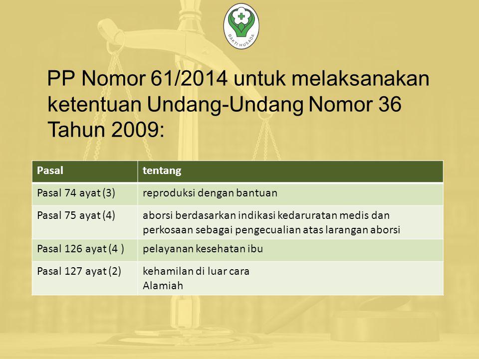 PP Nomor 61/2014 untuk melaksanakan ketentuan Undang-Undang Nomor 36 Tahun 2009:
