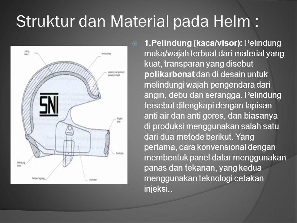 Struktur dan Material pada Helm :
