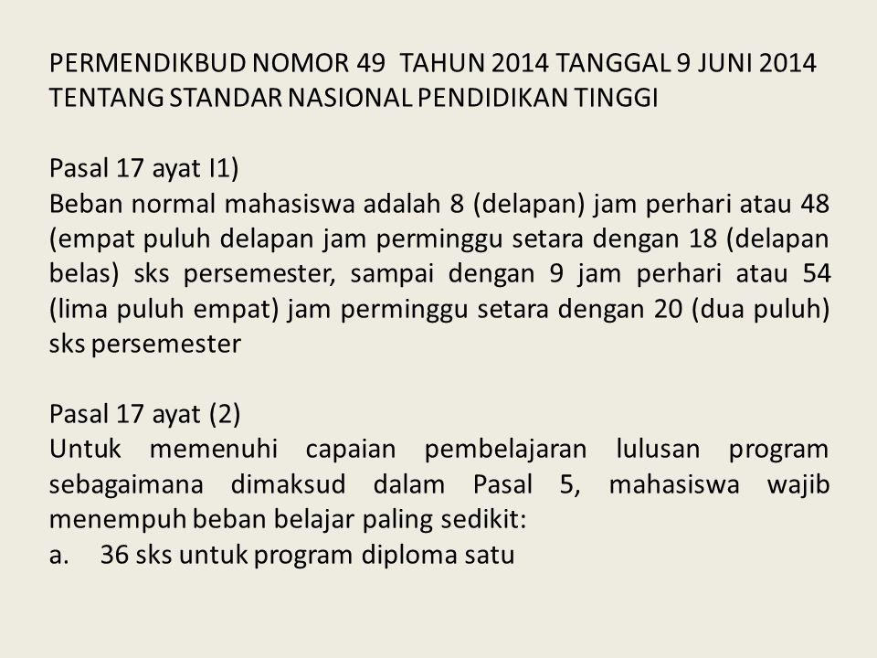 PERMENDIKBUD NOMOR 49 TAHUN 2014 TANGGAL 9 JUNI 2014 TENTANG STANDAR NASIONAL PENDIDIKAN TINGGI