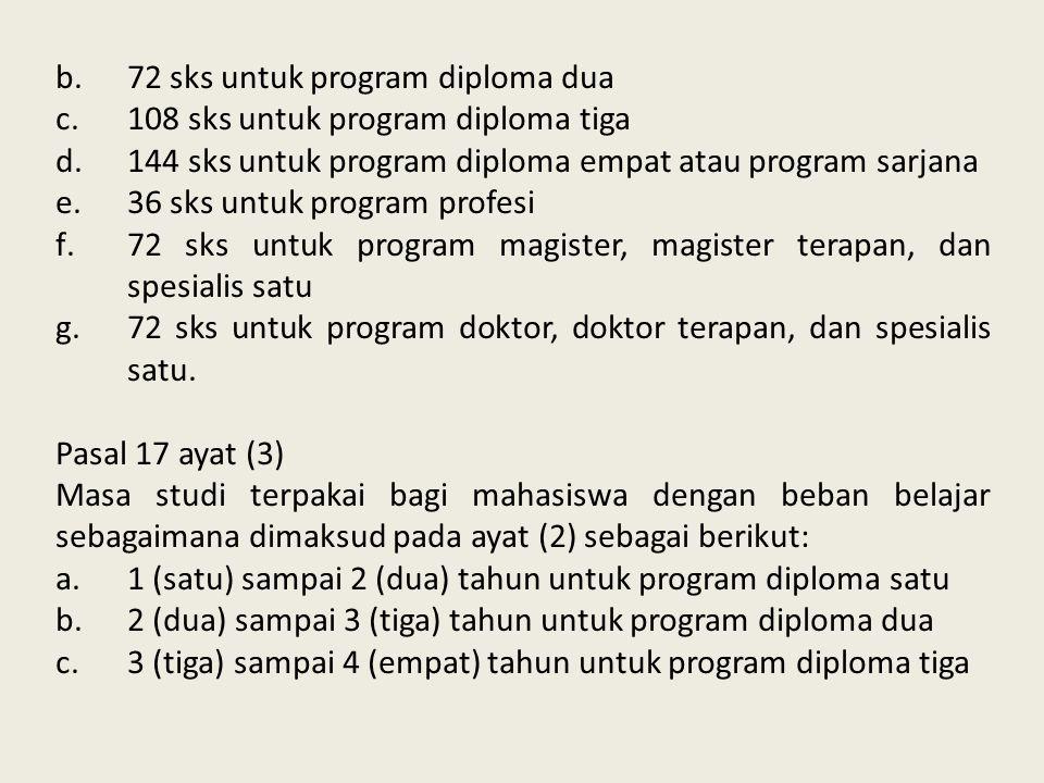 72 sks untuk program diploma dua