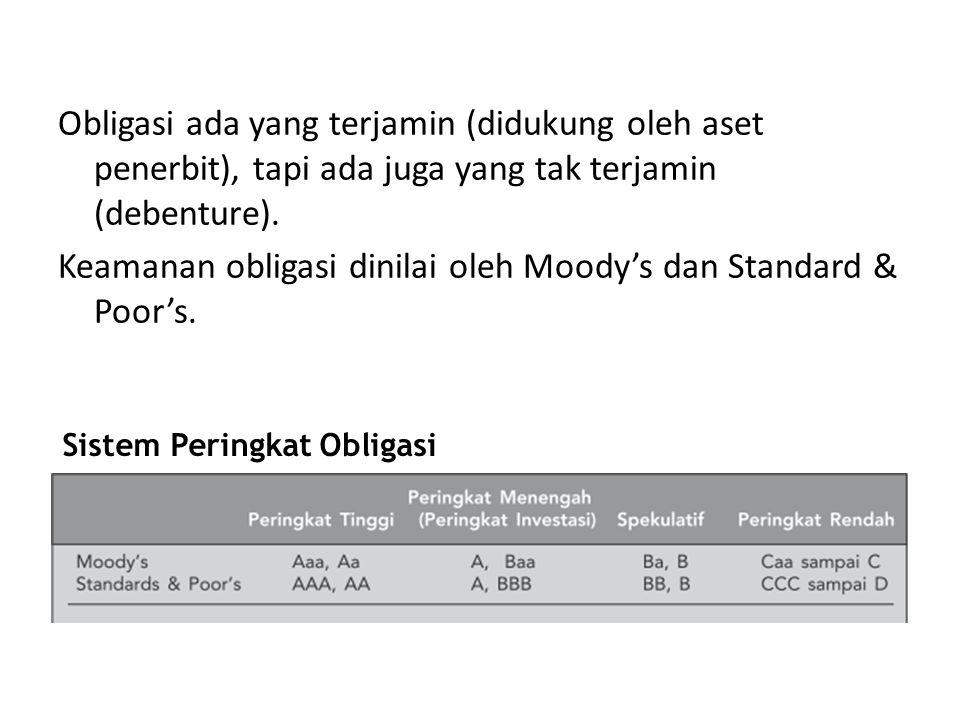 Obligasi ada yang terjamin (didukung oleh aset penerbit), tapi ada juga yang tak terjamin (debenture). Keamanan obligasi dinilai oleh Moody's dan Standard & Poor's.