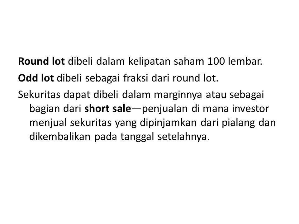 Round lot dibeli dalam kelipatan saham 100 lembar