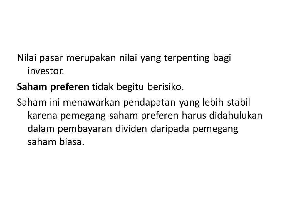 Nilai pasar merupakan nilai yang terpenting bagi investor