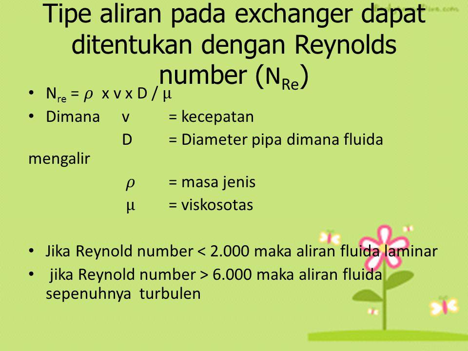 Tipe aliran pada exchanger dapat ditentukan dengan Reynolds number (NRe)
