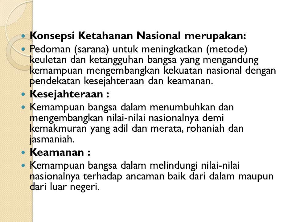 Konsepsi Ketahanan Nasional merupakan: