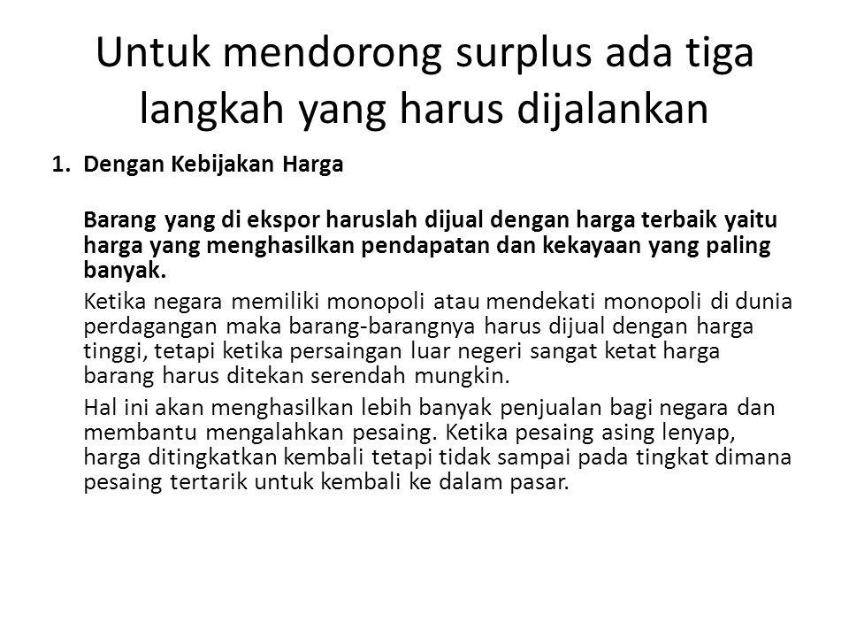 Untuk mendorong surplus ada tiga langkah yang harus dijalankan