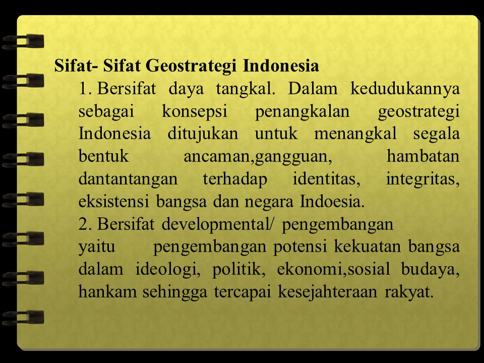 Sifat- Sifat Geostrategi Indonesia